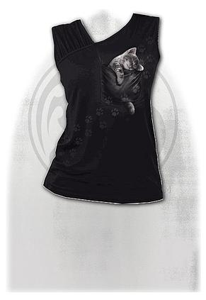 POCKET KITTEN - Gathered Shoulder Slant Vest Black
