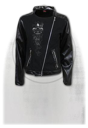 SKULL SCROLL - Pique Biker Jacket with PU Leather Sleeves