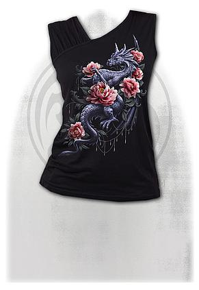 DRAGON ROSE SLANT - Gathered Shoulder Slant Vest Black
